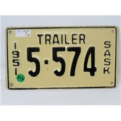 1951 SK TRAILER LICENSE PLATE