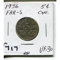 1936 CNDN 5 CENT PC FARS
