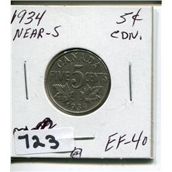 1934 CNDN 5 CENT PC NEAR S