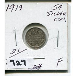 1919 CNDN SILVER SMALL 5 CENT PC