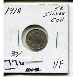 1918 CNDN SILVER SMALL 5 CENT PC