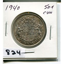1940 CNDN SILVER 50 CENT PC