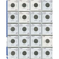 PAGE OF 20 CNDN SILVER DIMES 1905 - 1938