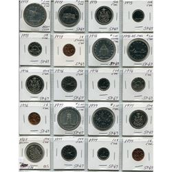 PAGE OF CNDN SPECIMEN SET QTY 20, W/SILVER DOLLAR 1969 - 1977