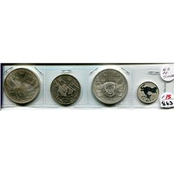 4 - 1976 OLYMPIC COINS 2 - $10, 1 - $5, 1 - $20, 4.5 OZ. SILVER