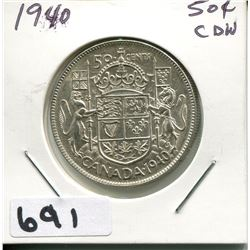 1940 CANADA SILVER 50 CENT PIECE