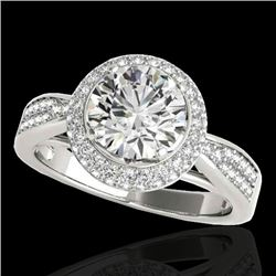 1.65 CTW H-SI/I Certified Diamond Solitaire Halo Ring 10K White Gold - REF-180M2H - 34405