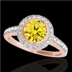 1.5 CTW Certified Si/I Fancy Intense Yellow Diamond Solitaire Halo Ring 10K Rose Gold - REF-180N2Y -