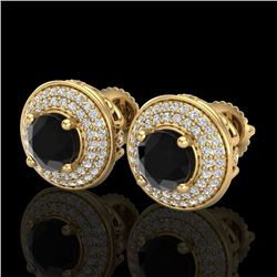 2.35 CTW Fancy Black Diamond Solitaire Art Deco Stud Earrings 18K Yellow Gold - REF-154N5Y - 38131