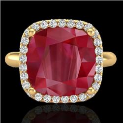 6 CTW Ruby & Micro Pave Halo VS/SI Diamond Ring 18K Yellow Gold - REF-77T3M - 23103