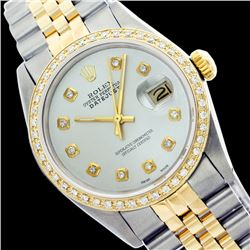 Rolex Ladies Two Tone 14K Gold/SS, Diamond Dial & Diamond Bezel, Sapphire Crystal - REF-434T5K