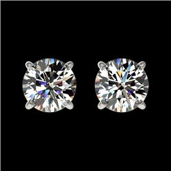 1 CTW Certified H-SI/I Quality Diamond Solitaire Stud Earrings 10K White Gold - REF-94K5W - 33049