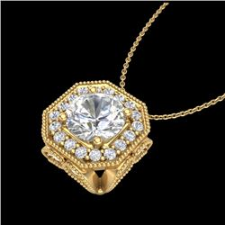 1.54 CTW VS/SI Diamond Solitaire Art Deco Necklace 18K Yellow Gold - REF-409A3X - 37327