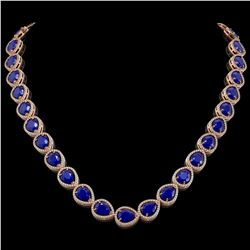 64.01 CTW Sapphire & Diamond Halo Necklace 10K Rose Gold - REF-733W5F - 41193