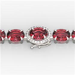 27 CTW Pink Tourmaline & VS/SI Diamond Tennis Micro Halo Bracelet 14K White Gold - REF-292Y5K - 2343
