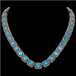 79.01 CTW Swiss Topaz & Diamond Halo Necklace 10K Rose Gold - REF-739K3W - 41508