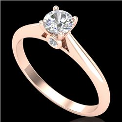 0.4 CTW VS/SI Diamond Solitaire Art Deco Ring 18K Rose Gold - REF-58H2A - 37278