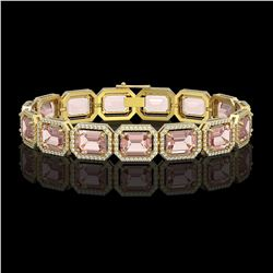 37.11 CTW Morganite & Diamond Halo Bracelet 10K Yellow Gold - REF-787A3X - 41536