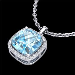 6 CTW Sky Blue Topaz & Pave Halo VS/SI Diamond Necklace 18K White Gold - REF-68H5A - 23088