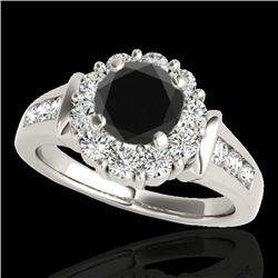 1.9 CTW Certified VS Black Diamond Solitaire Halo Ring 10K White Gold - REF-96X2T - 34295