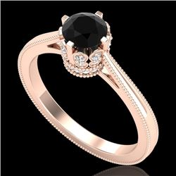 0.81 CTW Fancy Black Diamond Solitaire Engagement Art Deco Ring 18K Rose Gold - REF-78F2N - 37332