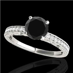 1.43 CTW Certified VS Black Diamond Solitaire Antique Ring 10K White Gold - REF-54Y4K - 34615