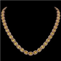 28.52 CTW Fancy Citrine & Diamond Halo Necklace 10K Rose Gold - REF-498K9W - 40443