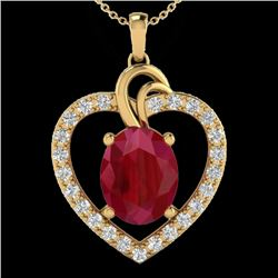 4 CTW Ruby & VS/SI Diamond Designer Heart Necklace 14K Yellow Gold - REF-81M8H - 20495