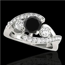 1.76 CTW Certified VS Black Diamond Bypass Solitaire Ring 10K White Gold - REF-108H8A - 35039