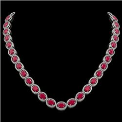 52.15 CTW Ruby & Diamond Halo Necklace 10K White Gold - REF-655Y3K - 40556