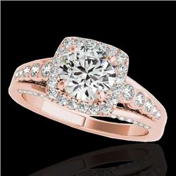 2 CTW H-SI/I Certified Diamond Solitaire Halo Ring 10K Rose Gold - REF-309K3W - 34320