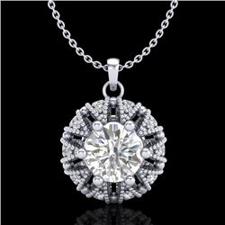 1.2 CTW VS/SI Diamond Art Deco Micro Pave Stud Necklace 18K White Gold - REF-220M2H - 36998