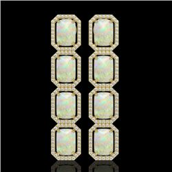 12.99 CTW Opal & Diamond Halo Earrings 10K Yellow Gold - REF-203M3H - 41587