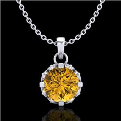 0.85 CTW Intense Fancy Yellow Diamond Art Deco Stud Necklace 18K White Gold - REF-109K3W - 37371