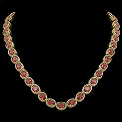 49.46 CTW Tourmaline & Diamond Halo Necklace 10K Yellow Gold - REF-763K6W - 40573