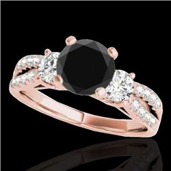 1.5 CTW Certified VS Black Diamond 3 Stone Solitaire Ring 10K Rose Gold - REF-69A3X - 35407