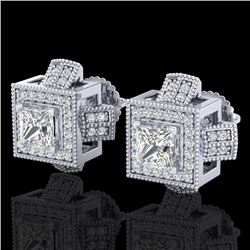 1.73 CTW Princess VS/SI Diamond Micro Pave Stud Earrings 18K White Gold - REF-254T5M - 37184