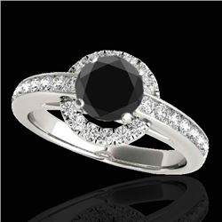 1.5 CTW Certified VS Black Diamond Solitaire Halo Ring 10K White Gold - REF-75H5A - 33928