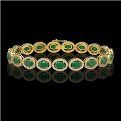 15.2 CTW Emerald & Diamond Halo Bracelet 10K Yellow Gold - REF-255K3W - 40453