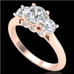 1.5 CTW VS/SI Diamond Solitaire Art Deco 3 Stone Ring 18K Rose Gold - REF-272W8F - 37314