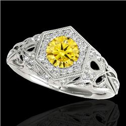 1.4 CTW Certified Si/I Fancy Intense Yellow Diamond Solitaire Antique Ring 10K White Gold - REF-236N