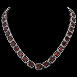 73.44 CTW Garnet & Diamond Halo Necklace 10K White Gold - REF-696K2W - 41519