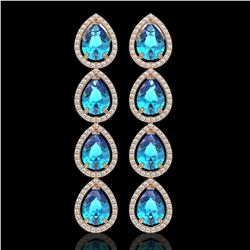 10.8 CTW Swiss Topaz & Diamond Halo Earrings 10K Rose Gold - REF-155N6Y - 41316
