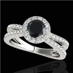 1.55 CTW Certified VS Black Diamond Solitaire Halo Ring 10K White Gold - REF-80M5H - 33849