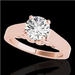 1 CTW H-SI/I Certified Diamond Solitaire Ring 10K Rose Gold - REF-227Y3K - 35138