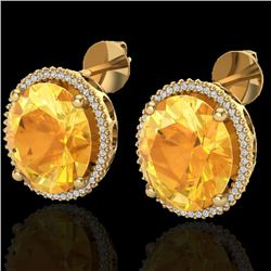 20 CTW Citrine & Micro Pave VS/SI Diamond Halo Earrings 18K Yellow Gold - REF-118T2M - 20269