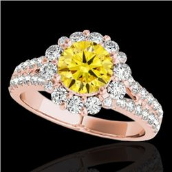 2.01 CTW Certified Si/I Fancy Intense Yellow Diamond Solitaire Halo Ring 10K Rose Gold - REF-209F3N
