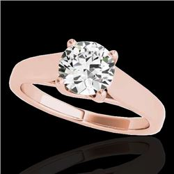 1 CTW H-SI/I Certified Diamond Solitaire Ring 10K Rose Gold - REF-138Y2K - 35526