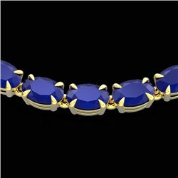 40 CTW Sapphire Eternity Tennis Necklace 14K Yellow Gold - REF-218K2W - 23376