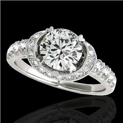 1.75 CTW H-SI/I Certified Diamond Solitaire Halo Ring 10K White Gold - REF-180H2A - 34450
